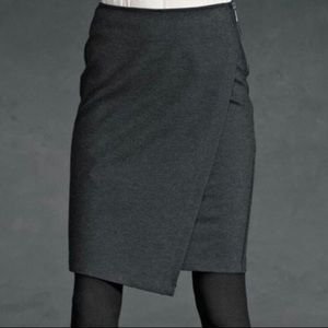 CABI #998 Faux Wrap Skirt in Charcoal 0